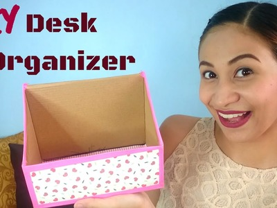 DIY Shoe Box Desk Organizer | Lolly Isabel