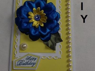 Happy Birthday Card.Carte d'anniversaire.Kanzashi flower.DIY.Tutorial