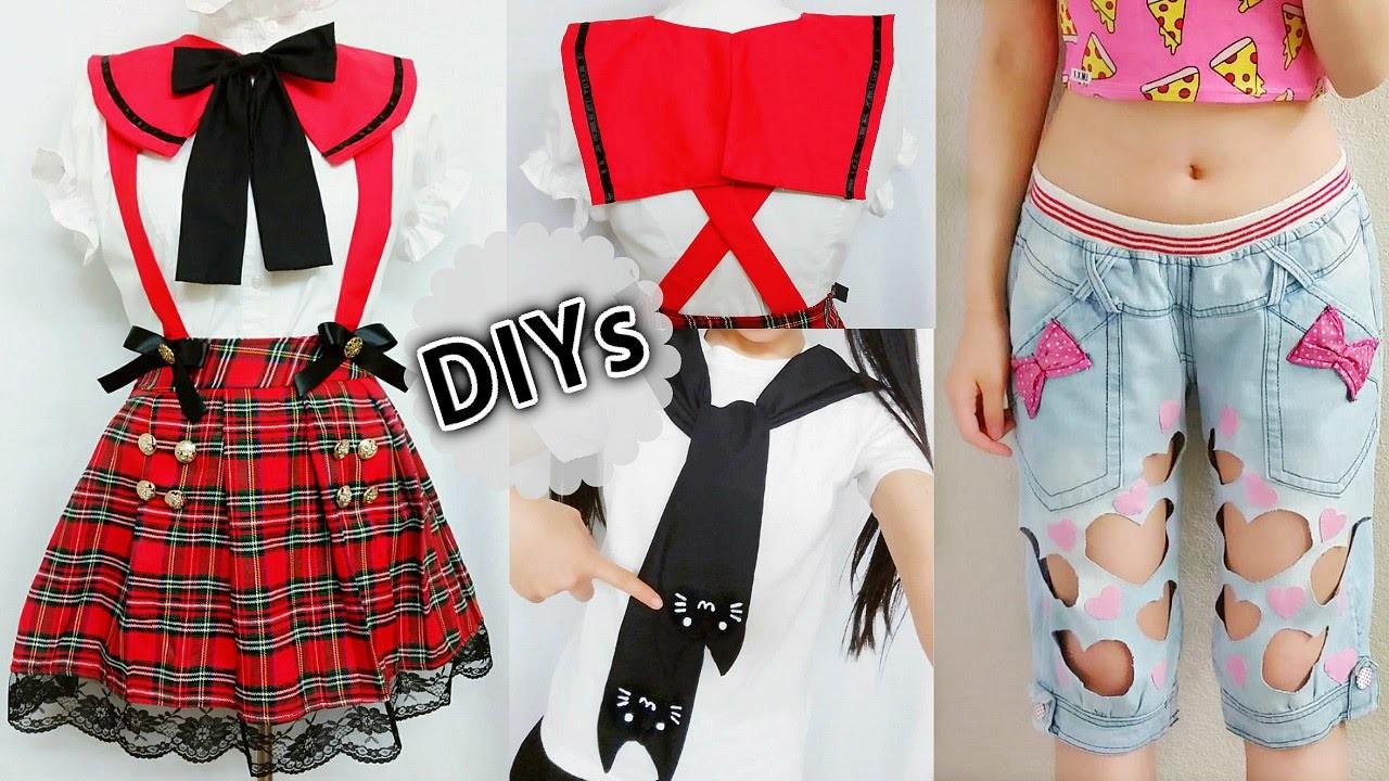 4 DIY Costumes&Clothes: DIY Anime School Uniform, Cat Sleeve-Tie Neck T-shirt,Square Sailor collar