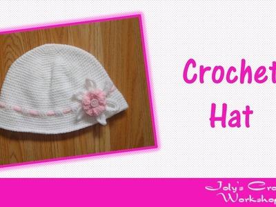 Crochet summer hat with flower for girls