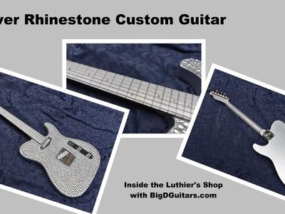 Custom DIY Silver Rhinestone Guitar from BigDGuitars
