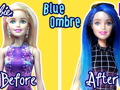 DIY - How to Dye Blue Ombre Hair for Barbie Doll - Waterfall Ombre Hair - Making Kids Toys