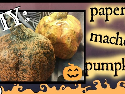 DIY : How To Make A Paper Mache Pumpkin using a plastic bottle. Tutorial