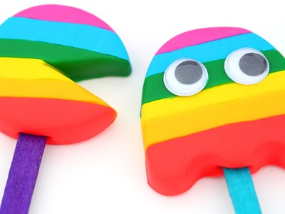DIY How To Make Play Doh Pac Man Rainbow Popsicles With Pac Man Molds Modelling Clay