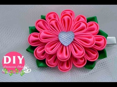 DIY.Kanzashi flower tutorial.Satin ribbon flower.Hairpin.Flower kanzashi.