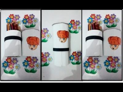 DIY pencil case from plastic boto and paper - cara membuat tempat pensil