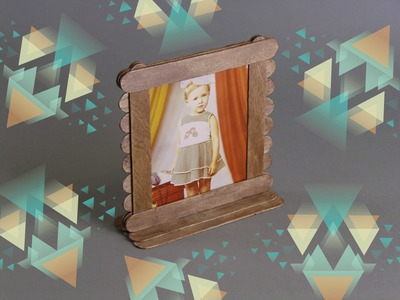 DIY PHOTO FRAME FROM POPSICLE STICKS. HOW TO MAKE PHOTO FRAME FROM POPSICLE STICKS their own hands.