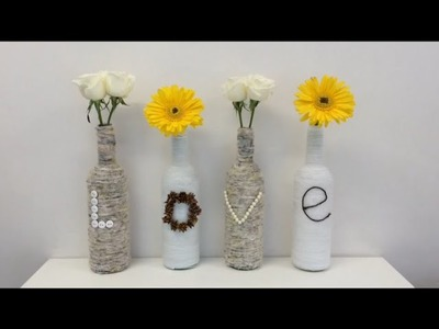 DIY recycled glass bottles, home, room  or office decor