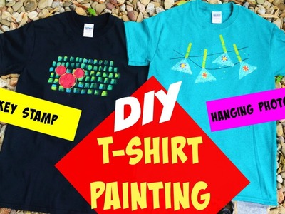 DIY T-shirt painting at home tutorial!! using easy stamping and painting techniques