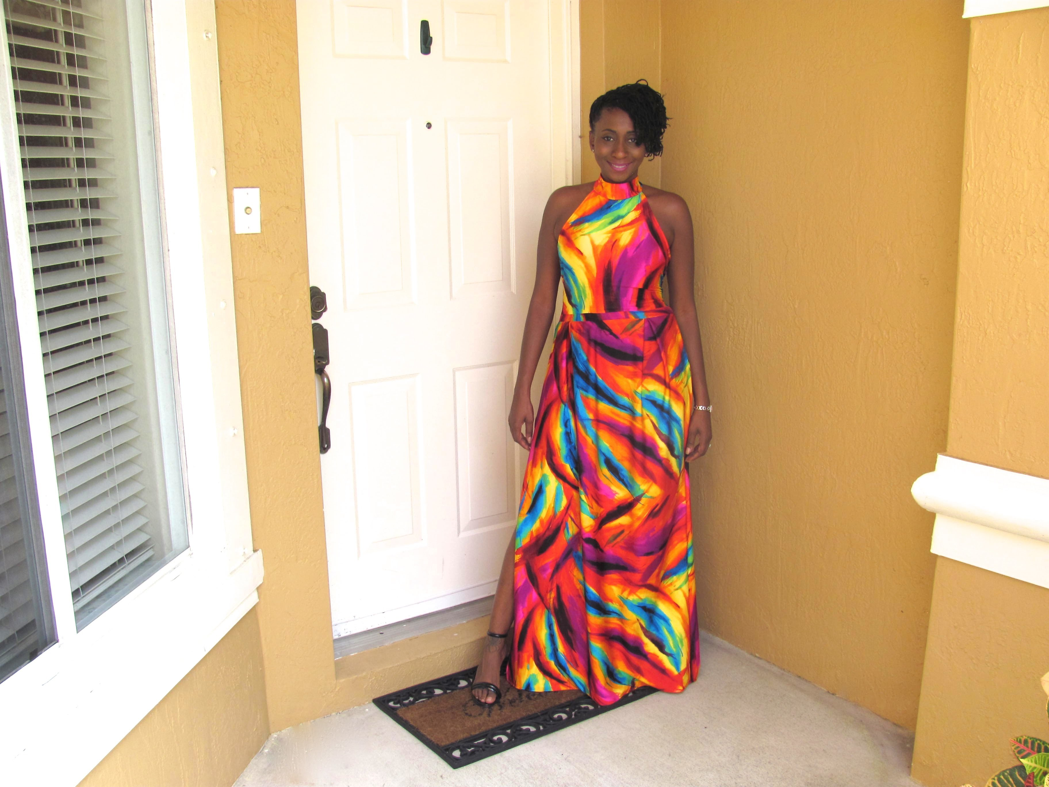 DIY: Vibrant Backless Maxi Dress with Slit and Pleats