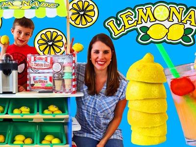 LEMONADE STAND & Ice Cream Cart With Melissa & Doug Food DIY Strawberry Lemonade Kids DisneyCarToys