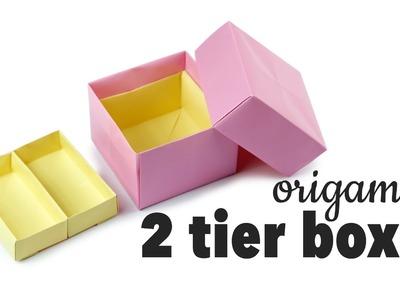 Origami 2 Tier Box Tutorial ♥︎ DIY Storage Box ♥︎