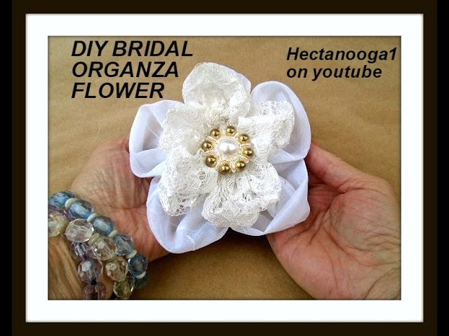 5 PETAL ORGANZA AND LACE FLOWER, how to make fabric flowers, diy fabric flowers.