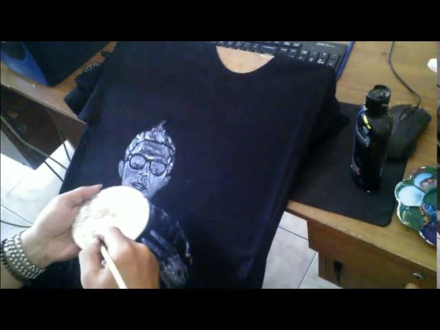 Amazing ! How to paint on Black T-shirt , Silver Edition