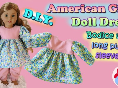 DIY | How to sew a dress with long puff sleeves for your (American Girl) doll • Sami Doll Tutorials