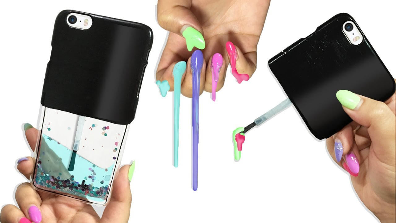 DIY LIQUID GLITTER Nail Polish PHONE CASE!
