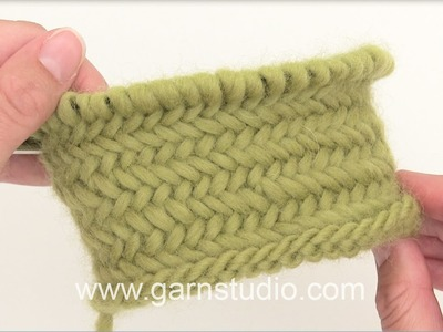 DROPS Knitting Tutorial: How to work Herringbone stitch in the round