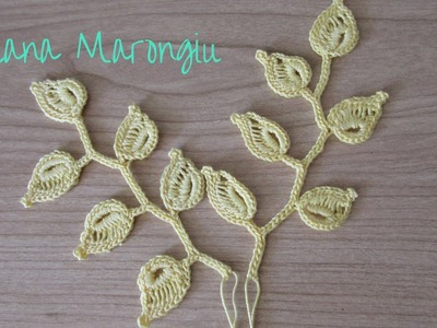 Elemento decorativo : ramo e foglie all'uncinetto - Tutorial Irish Crochet