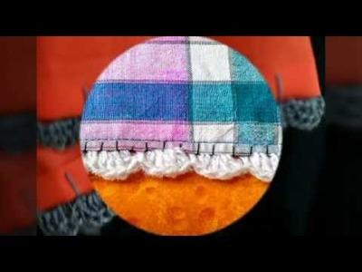 How to Crochet a Edges or Border on a Cloth.Fabric ~ Attach Crochet on Cloth~ Kiroshiya on Cloth