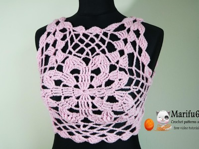 How to crochet Como tejer un Halter Crop Top Tutorial paso a paso