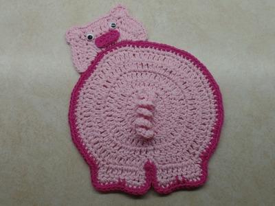 How To #Crochet Piggy Butt Potholder #TUTORIAL #323