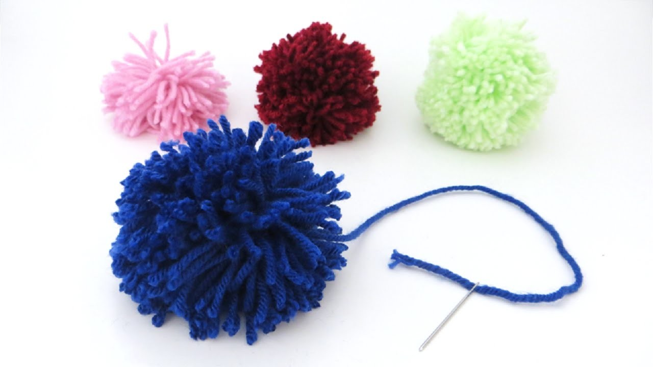 How to make a yarn pom pom with just yarn and scissors
