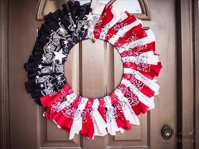 How to make an Easy American Patriotic Bandana Wreath