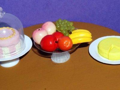 How to make cheese and fruit.cake stand for dolls, barbies and others - miniature crafts DIY