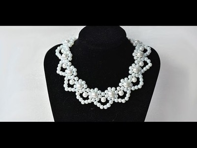 How to Make Elegant White Pearl Flower Statement Necklace for Wedding