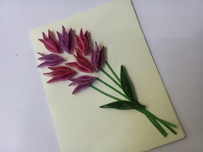 How to make Flower Card - Quilling card design