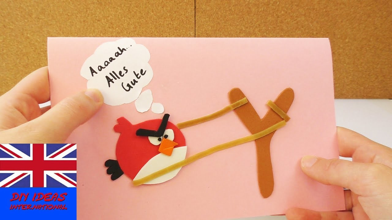 How to make this cool ANGRY BIRDS BIRTHDAY CARD | Angry bird ready to fly
