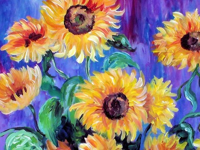 How to Paint Monet's Sunflowers in Acrylic Using a Guided Canvas System. Paint Like Pablo