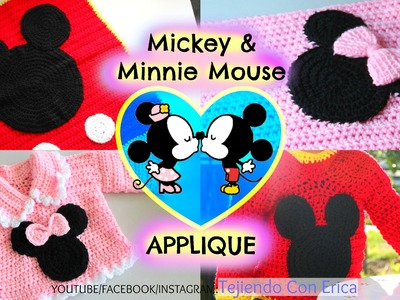 Mickey Mouse ♡ Minnie Mouse CROCHET APPLIQUE | Tejiendo Con Erica