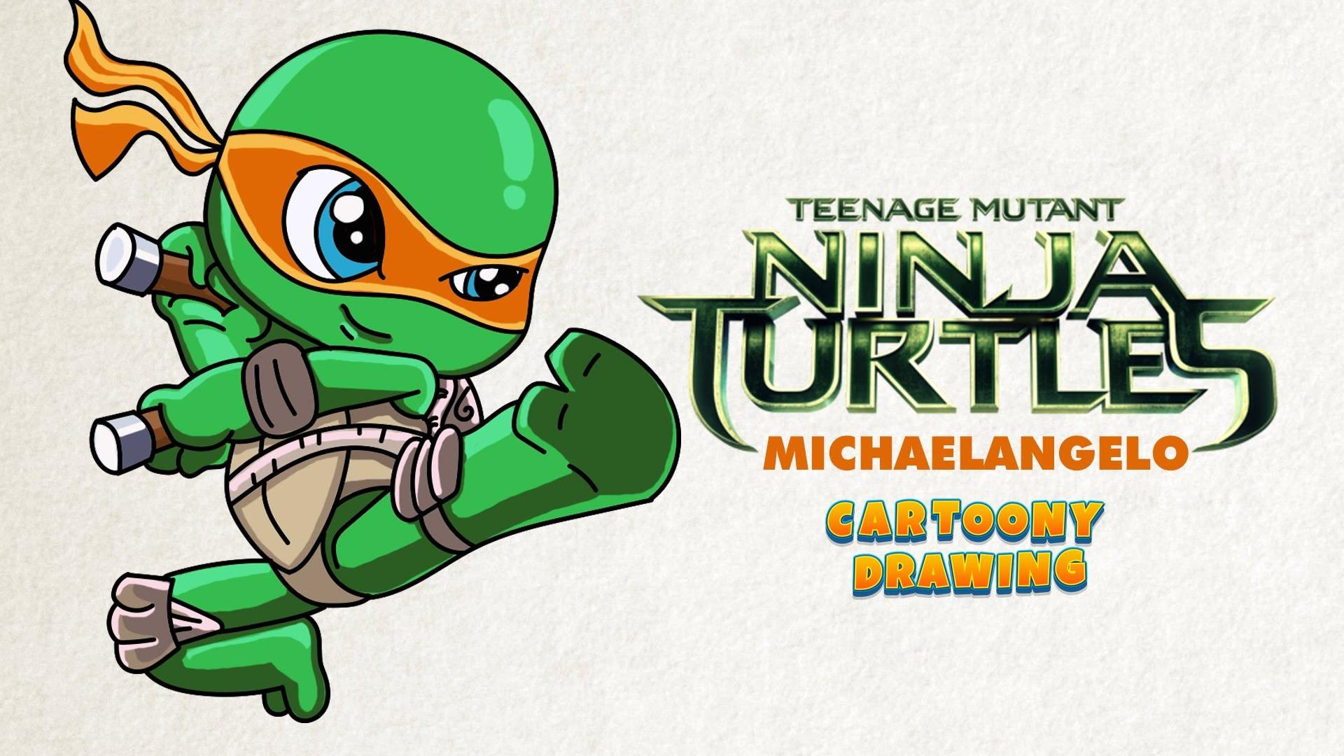 Ninja turtle - Michaelangelo - How to draw in five minutes