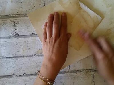 Como tingir papel com cafe- Dica super fácil.  How to coffee dyed paper .