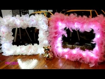 How to: DIY $10 Vanity Mirror with Lights Flowers.Feathers Dollar Tree