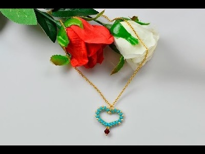 How to Make a Blue 2 Hole Seed Bead Heart Pendant Necklace with Golden Chain