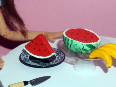 How to make a miniature banana and watermelon (fruits) for dolls, barbies and others
