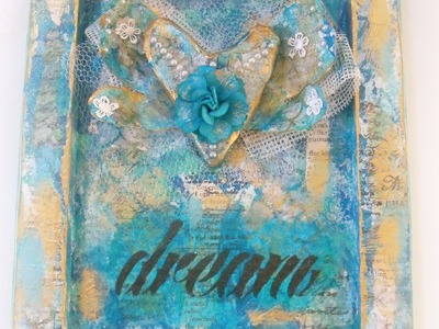 How to make a mixed media canvas with 3d paper mache heart. DIY Reversed Mixed media Canvas