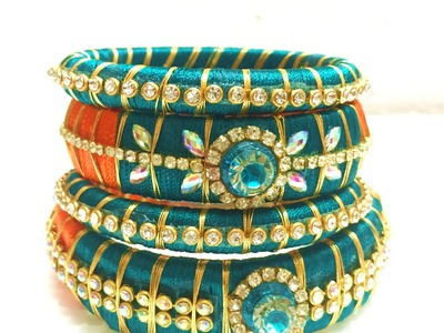 HOW TO MAKE OLD BANGLES  INTO A  DESIGNER  SILK  THREAD BANGLE !!!!