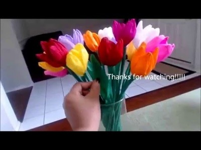 How to make paper tulip flower 2016   origami paper tulip flowers 2016 on youtube