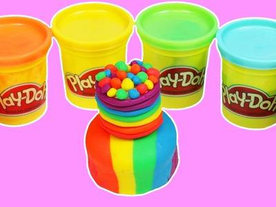 How to Make PLAY DOH Rainbow Layer Cake Fun & Easy DIY Play Dough Dessert Art!
