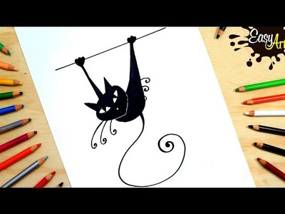 Como dibujar un gato │ how to draw a cat │ Black cat