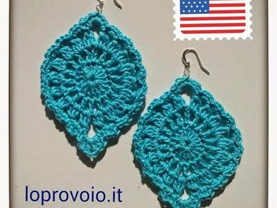 Crochet oval earrings
