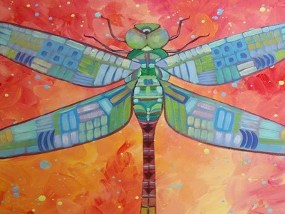 Dragonfly Acrylic Painting Tutorial | How to Paint Whimsical Tribal Art | Step by Step Instruction