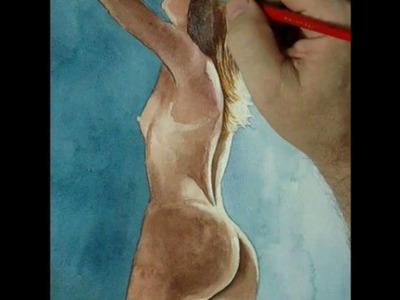 FREE TO WATCH In How I Paint Female Back Side View in Time Lapse Watercolor by Shellhammer