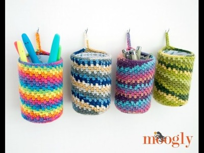 How to Crochet: Crafty Hanging Can Cozy (Left Handed)
