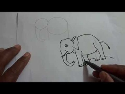 How to draw an elephant for beginners, children in easy steps