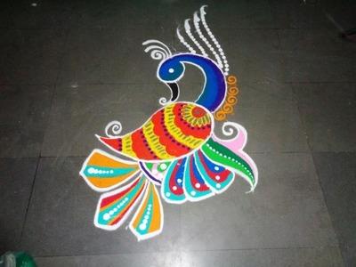 How to make beautiful & colourfoll peacock rangoli design
