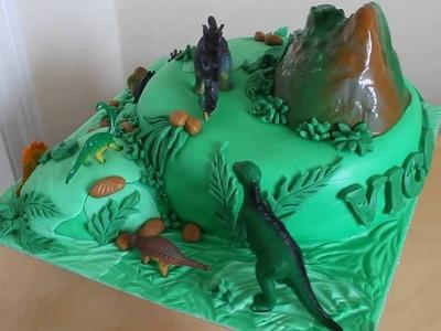 """How to make """"Dinosaur cake""""  Jak zrobic tort z dinozaurami ."""
